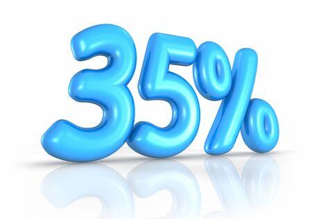 thirty five: Mongolfiera trenta cinque per cento, isolato su sfondo bianco. 35 %