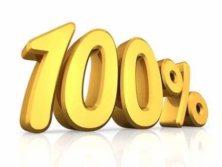 one hundred: Gold one hundred percent, isolated on white background. 100%
