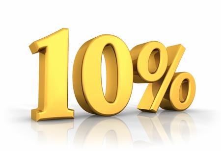 extruded: Oro dieci per cento, isolato su sfondo bianco. 10 %
