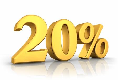 Gold twenty percent, isolated on white background. 20% photo