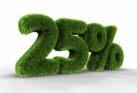 twenty five: Veinticinco por ciento, aislado en fondo blanco de hierba. 25 %