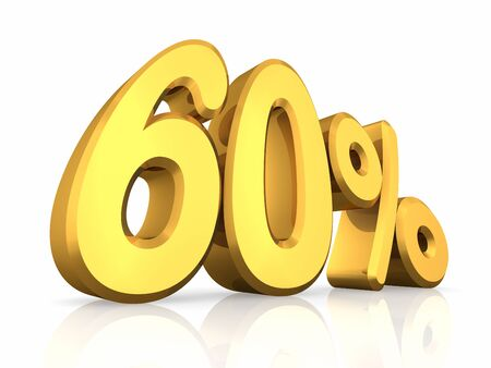 sixty: Gold sixty percent, isolated on white background. 60%