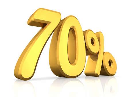 seventy: Oro settanta per cento, isolato su sfondo bianco. 70 % Archivio Fotografico