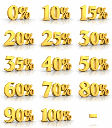 percentages: Complete set of gold percent tags for sales and discounts, price tags with minus