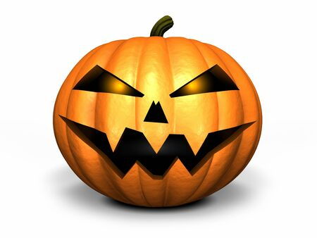 haunting: Scary Jack O Lantern halloween pumpkin, 3d render Stock Photo