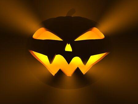 Jack O Lantern, scary halloween pumpkin, 3d render photo