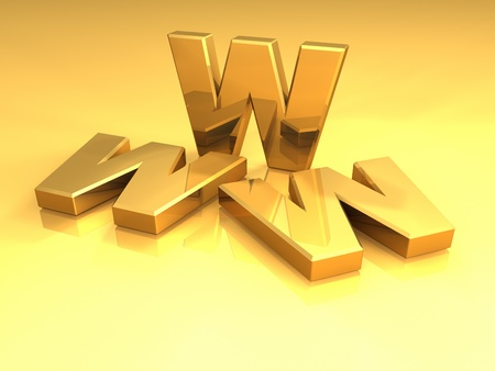 Gold letters www on a reflective floor, 3d render Stock Photo - 8542072