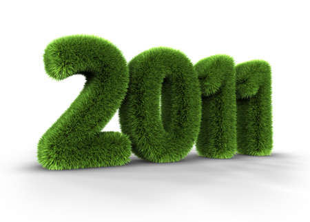 Grass year 2011, large grassy number, 3d render Stock Photo - 8559801