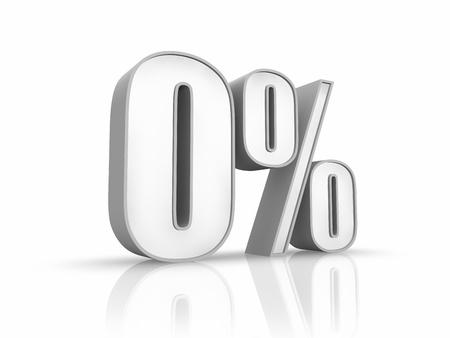 Weiße Null Prozent, isolated on white Background. 0 % Standard-Bild