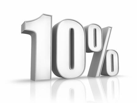 extruded: Bianco dieci per cento, isolato su sfondo bianco. 10 %