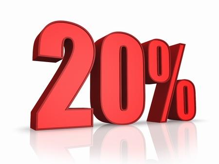 Red twenty percent, isolated on white background. 20% photo