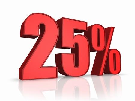 twenty: Red twenty five percent, isolated on white background. 25%