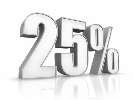 White twenty five percent, isolated on white background. 25%