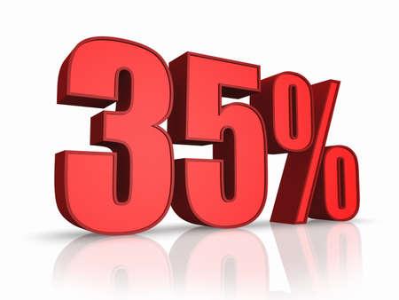 thirty five: Rosso trenta cinque per cento, isolato su sfondo bianco. 35 %