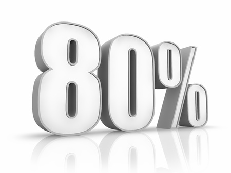 White eighty percent, isolated on white background. 80% photo