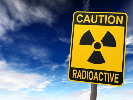 Radioactivity sign against the blue sky with clouds, caution radioactive, 3d render Stock Photo - 9423778