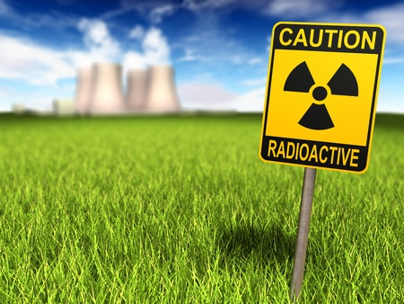 Radioactivity sign on a grassy field and nuclear power plant in background, 3d render Stock Photo - 9423780