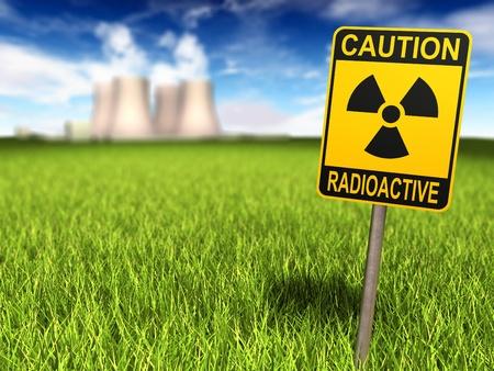 radiactividad: Signo de radiactividad en un campo de c�sped y la planta de energ�a nuclear en el fondo, procesamiento 3d Foto de archivo