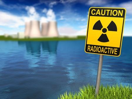 radiacion: Se�al de advertencia con el s�mbolo radiactivo y la planta de energ�a nuclear en la costa, procesamiento 3d