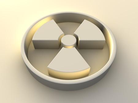 radiactividad: Procesamiento de s�mbolo de la radiactividad con retroiluminaci�n amarillo, 3d