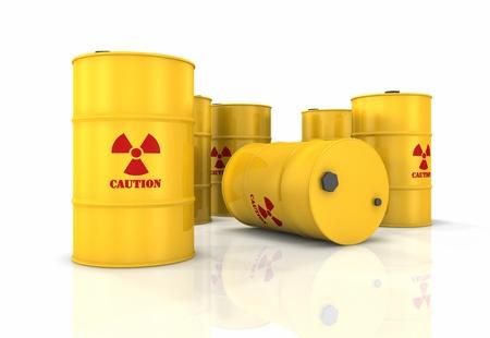 radiactividad: Procesamiento de barriles amarillos con s�mbolos de radiactividad rojo, 3d