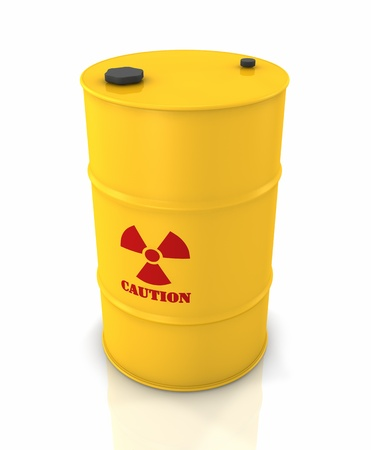 Yellow barrel with red radioactivity symbol, 3d render photo