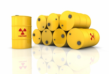 Stack of yellow barrels with red radioactivity symbols, 3d render photo