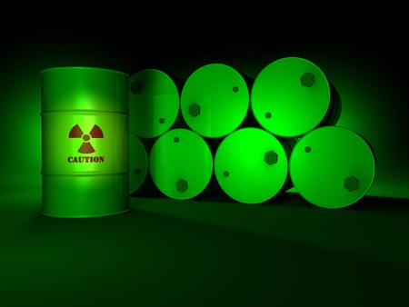 Radioactive barrels in the green light, dark background, 3d render photo