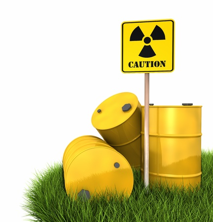 Radioactive landfill, barrels on grass with sign of radiation, 3d render photo