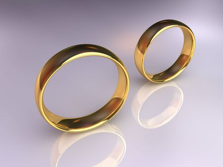 singly: Two golden wedding rings together but apart, 3d render