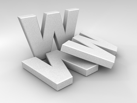 WWW stone letters on a shaded background, 3d render Stock Photo - 9476636