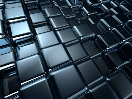 Dark metal cube background, reflective and shiny 3d render photo