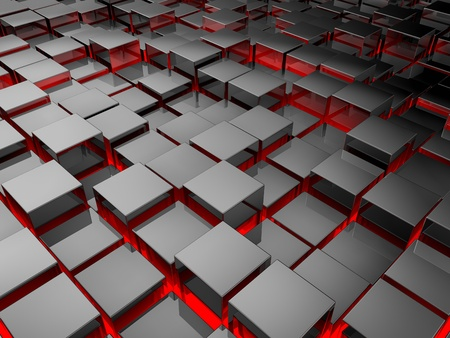 reflective background: Silver cubes background, metal blocks with red illumination, 3d render