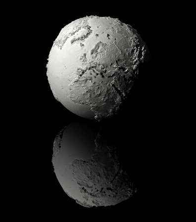 Realistic model of planet earth on black background, europe, 3d render photo