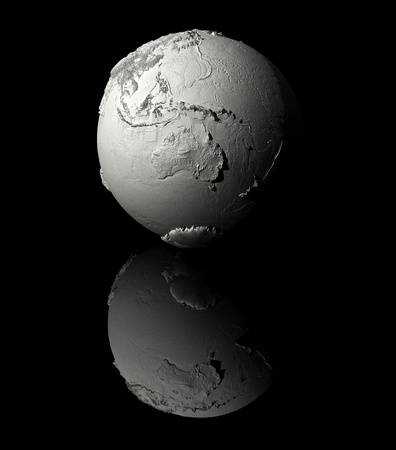 Realistic model of planet earth on black background, australia, 3d render photo