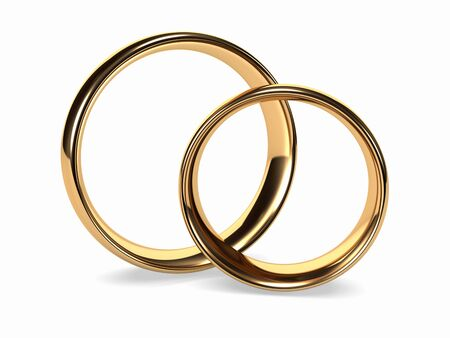 next to each other: Two golden wedding rings stand next to each other Stock Photo