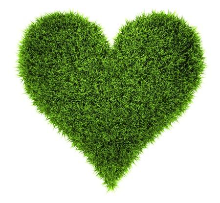Gras Herz isoliert auf weißem Hintergrund, 3d render Lizenzfreie Bilder