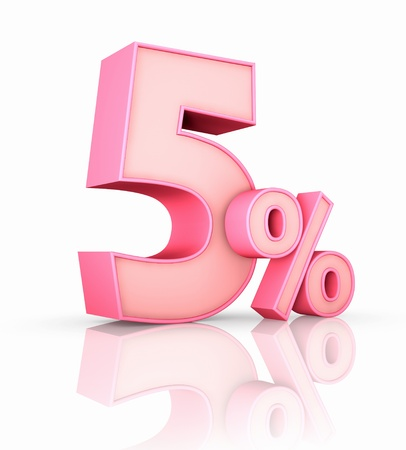 percent sign: Pink five percent, isolated on white background. 5%