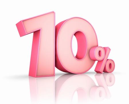 numero diez: Rosa diez por ciento, aisladas sobre fondo blanco. 10 %
