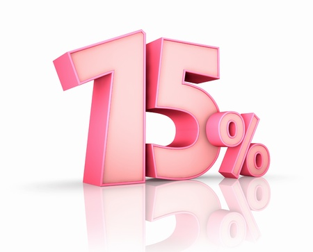Rosa fünfzehn Prozent, isoliert auf weißem Hintergrund. 15% Lizenzfreie Bilder