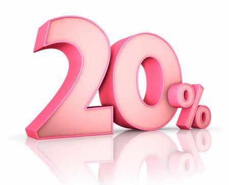20: Rosado 20% aislado sobre fondo blanco. 20 %