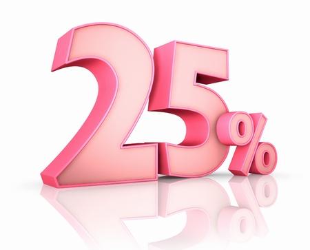 twenty five: Rosa veinticinco por ciento, aislada sobre fondo blanco. 25 %