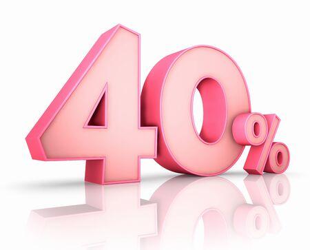 Rosa 40 Prozent, isoliert auf weißem Hintergrund. 40% Lizenzfreie Bilder
