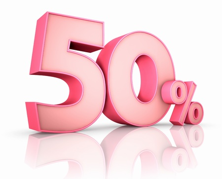 percentage sign: Pink fifty percent, isolated on white background. 50%