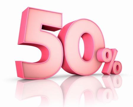 Rosa 50 Prozent, isoliert auf weißem Hintergrund. 50%
