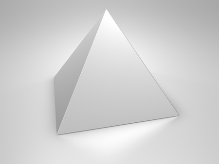 Metallische Pyramide auf metallischen Hintergrund, 3d render