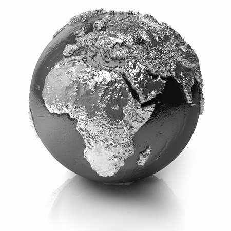 Silver globe - metal earth with realistic topography - africa, 3d render photo