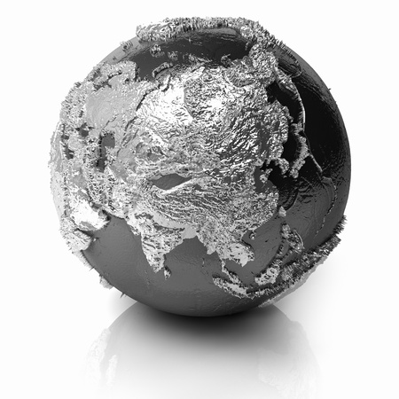 Silver globe - metal earth with realistic topography - asia, 3d render photo