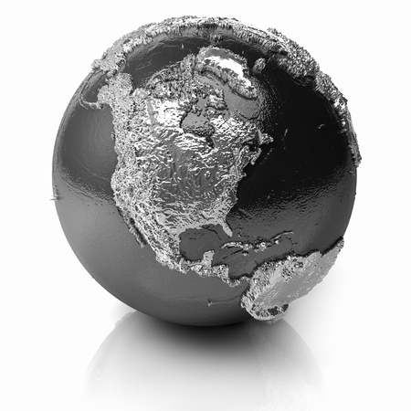 Silver globe - metal earth with realistic topography - north america, 3d render photo