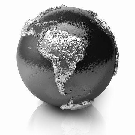 Silber Globus - Metall Erde mit realistischen Topografie - Südamerika; 3D render Standard-Bild